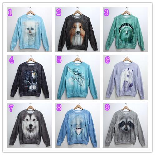 Latest Style Men/Women Unisex Lover Sweatshirt Men 2014 Animals 3d Hoodies Sweatshirts Cat/Dog/People Hoody Free Shipping(China (Mainland))