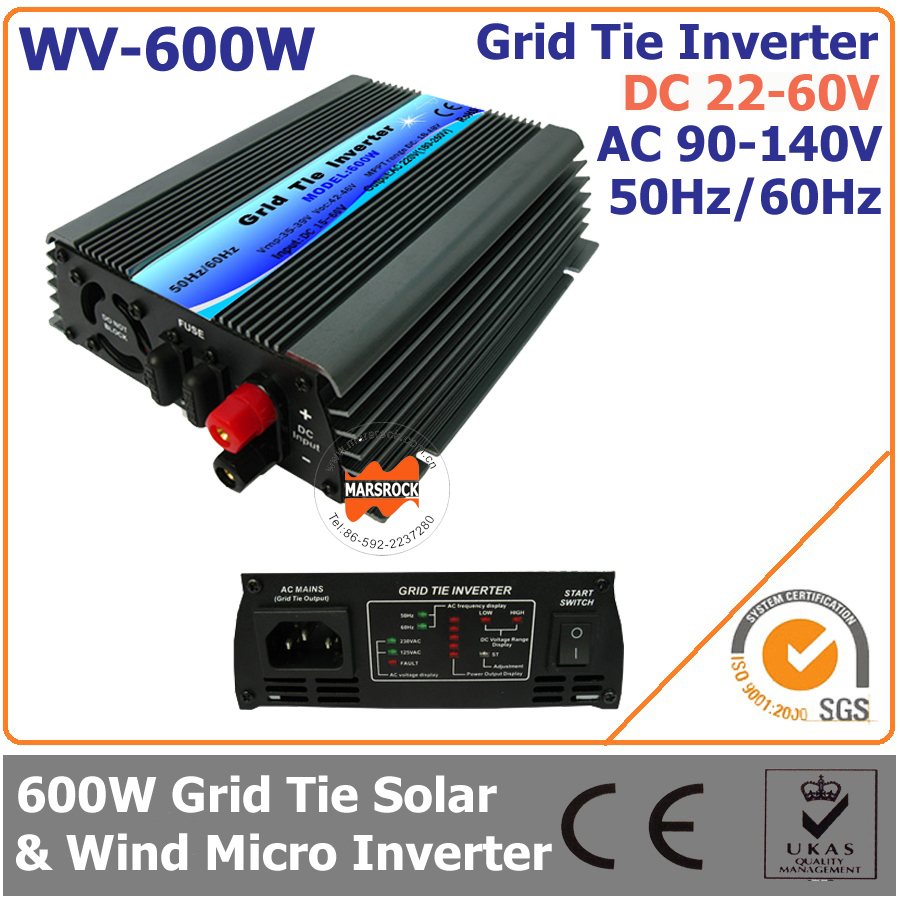 600W 22-60VDC 90-140VAC wide DC input grid tie inverter suitable for 30V or 36V solar power system or wind system(China (Mainland))
