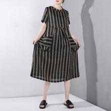 [EAM] 2019 春夏新作ラウンドネック半袖ストライプポケットスプリットジョイント視点ビッグサイズのドレスの女性ファッション YC95(China)