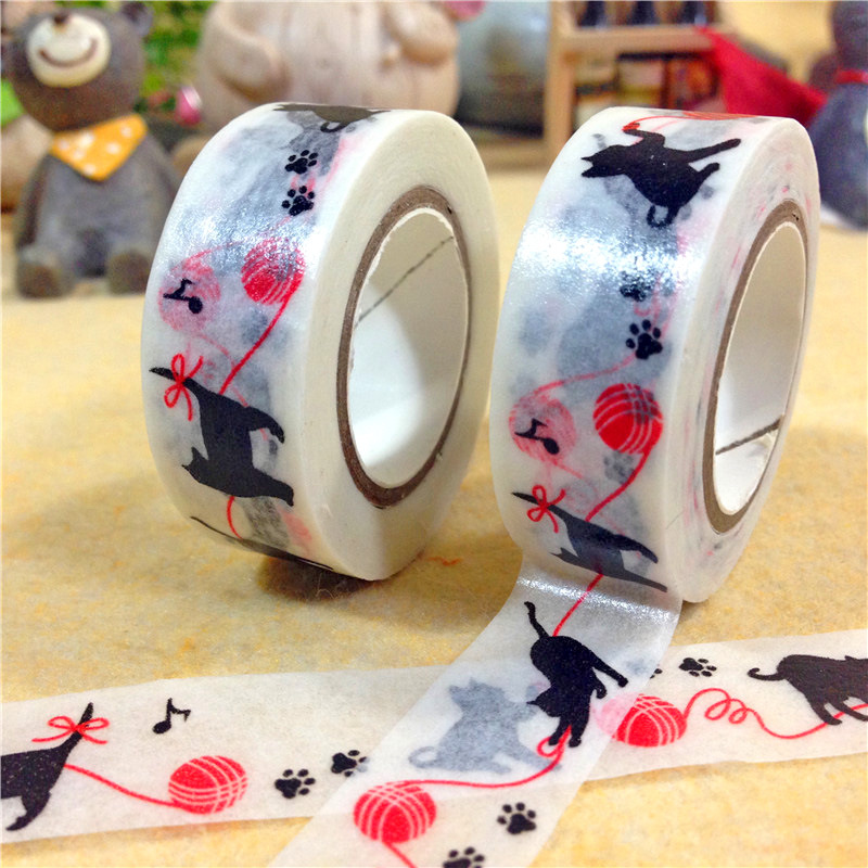 "2016 New 1x Kawaii ""Cat Chase Ball of Red Yarn"" Japanese Washi Paper Tape Decorative Masking Tape Office Adhesive Tape 15mm*10m(China (Mainland))"