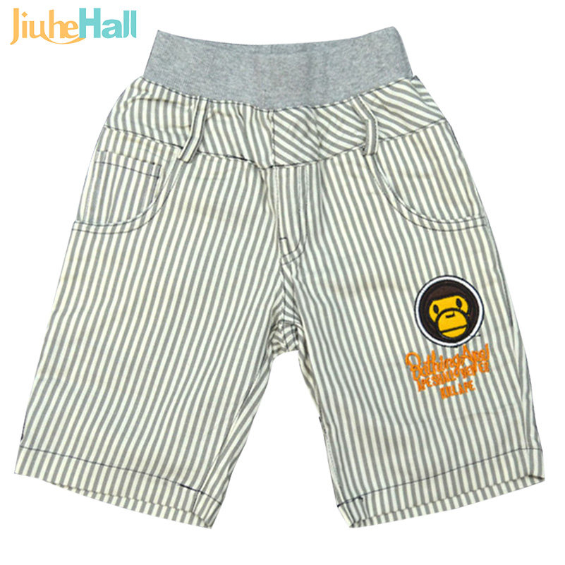 Cartoon Monkey Patchwork & Letter Embroidered Boys Striped Capris Japan Style Boys Knee Length Pants Summer Boys Capris CMB076(China (Mainland))
