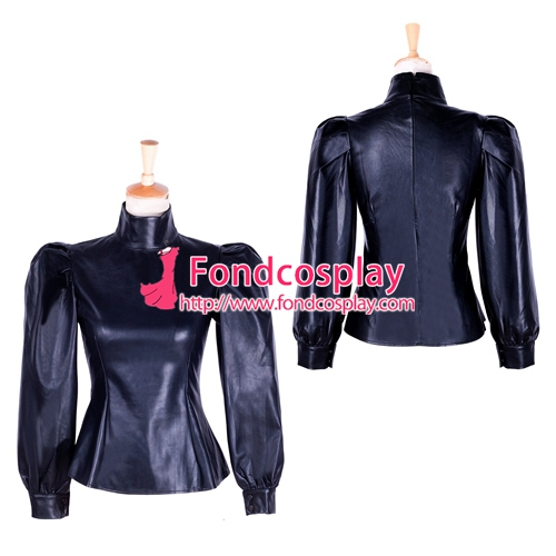 Free Shipping fetish gothic faux leather blouse Shirt  Cosplay  Tailor-made [G1759]Îäåæäà è àêñåññóàðû<br><br>