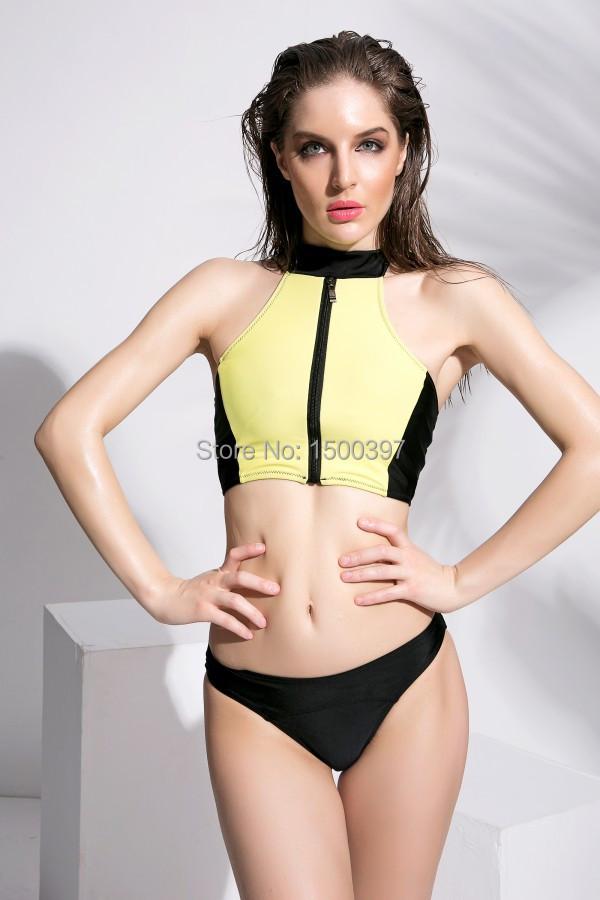 2015 Women High Neck Tank Top Bikini,Yellow/Black Zipper Design Bandage Swimwear Retro Halter Top Brazilian Swimsuit(China (Mainland))