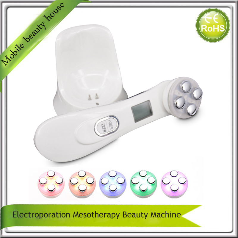 Portable Electroporation Mesotherapy Needle Free Skin Tightening Face Lifting Wrinkle Removal IPL Beauty Machine(China (Mainland))