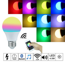 2016New Magic Blue 4.5W E27 RGBW led light bulb Bluetooth 4.0 smart lighting lamp color change dimmable AC85-265V for home hotel(China (Mainland))