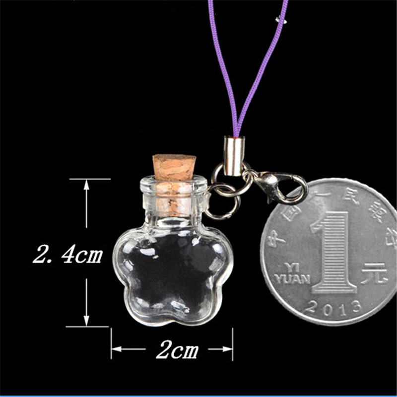 Wholesale Mini Glass Bottles Flower Key Pendants Bottles With Chains Lobster Clasp For Phone Bracelets Necklace 2016 New 10pcs(China (Mainland))