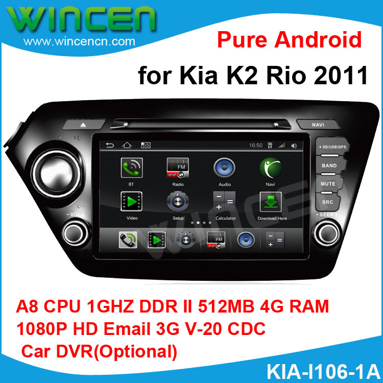 1080p HD Pure Android Car DVD GPS Player for Kia K2 Rio 2011 A8 chip 1G CPU 512 DDR DSP sound-effects 7 parts digital EQ(China (Mainland))