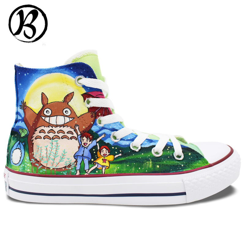 Фотография My Neighbor Totoro Shoes Cartoon Anime Painted Shoes Custom Hand Painted Art Miyazaki Hayao Womens Mens