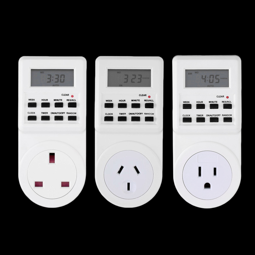 7 Day Digital Electronic LCD Plug-in 12/24 Hour Timer Switch Plug Socket Wholesale