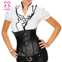 Black Underbust Sexy Leather Corset Plus Size Corsets And Bustiers Waist Training Burlesque Steampunk Clothing For Women S-6XL