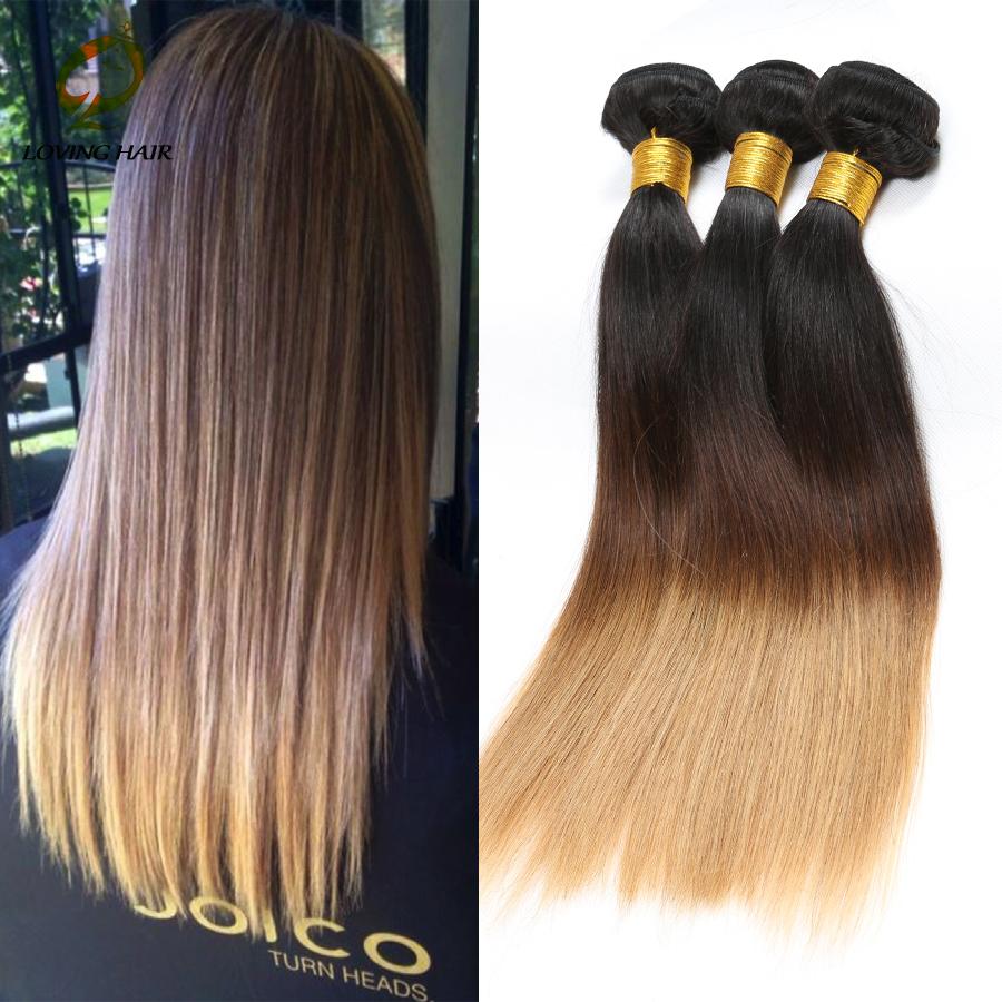 New Arrival Queen Hair Products Malaysian Virgin Straight Hair Ombre Malaysian Hair 1#4#27 Three Tone Human Hair Weaves<br><br>Aliexpress