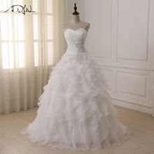 Buy ADLN Cheap Stock Wedding Dress Corset 2017 vestidos de novia Sweetheart Ruffled Organza Bridal Gowns Dresses Plus Size Custom for $58.08 in AliExpress store
