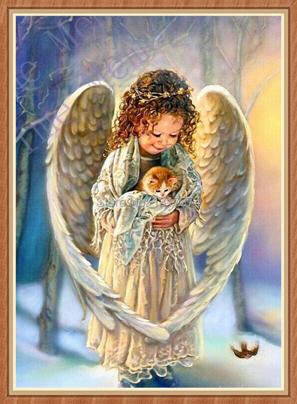 DIY diamond painting Angel 5D 3D Crystal needlework gift for home Decoration Set U-003 50*40CM Free Shipping(China (Mainland))