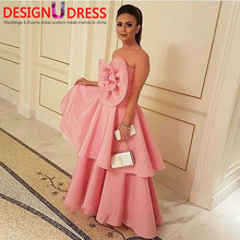 New Arrival Big Handmade Flower Pink Prom Dress 2017 Formal Evening Gown Middle East Style Saudi Lady Fashion party Gowns(China (Mainland))