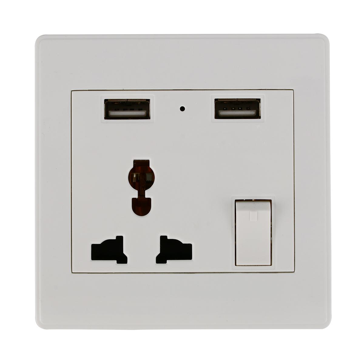 Wall Socket Dual 2 USB Plug Switch Power Supply Plate Universal 2100mA Charger BI122(China (Mainland))