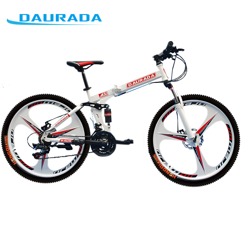 DAURADA 26 Inches 21-Speed Bicycles Stee Fixie Full Suspension Frame Shock Absorption Double Disc Brake Folding Mountain Bike(China (Mainland))