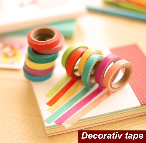 10 pcs/set paper Masking Tape Color Adhesive decorative tapes Diy Stickers Scrapbooking Stationery School Supplies<br><br>Aliexpress