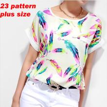 Feather Women Blouses Shirt Chiffon Plus Size Feminina Top Tee Short Shirt Women Clothing Blusa Camisa Summer Tops Shirt Floral