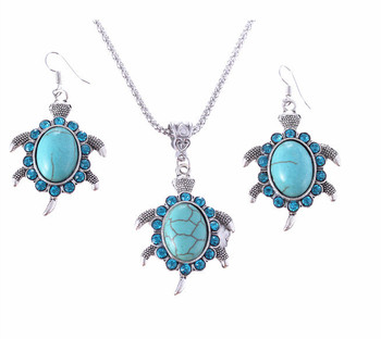 Brand Design Jewelry Sets Plating Silver Retro Turquoise Pendant Necklace Turtle drop earrings Charm Gift women A173G