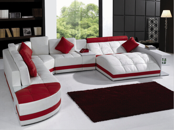 Modern Sofa Set Living Room Furniture Sectional Sofa With LED Light White Am