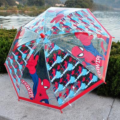 Kids Cartoon Spiderman Princess Clear Umbrellas Boys Girls Long-handled Transparent Umbrella(China (Mainland))