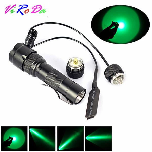 Purple Red Blue Green Light WF 502B 450lumen Tactical Flashlight LED Torch For Camping lamp Remote