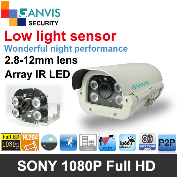 SONY low light sensor 1080P full HD 2mp IP camera outdoor 2.8-12mm IR LED nightvision cctv security surveillance GANVIS GV-T237V(Hong Kong)