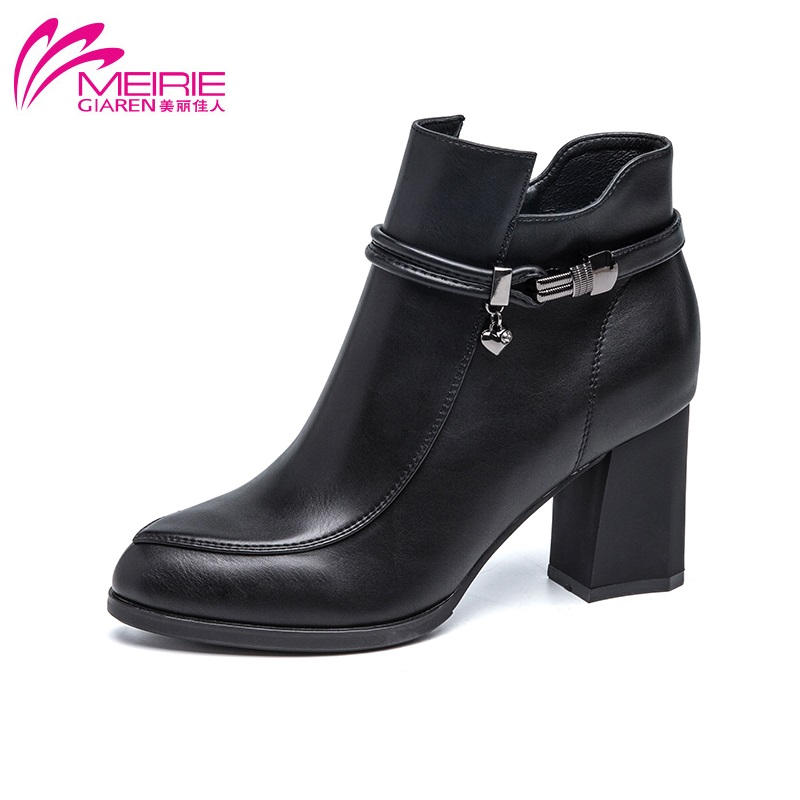 MeiRie'S 2016 winter women boots soft PU leather black brown fashion ladies ankle boot round toe female shoes free shipping(China (Mainland))