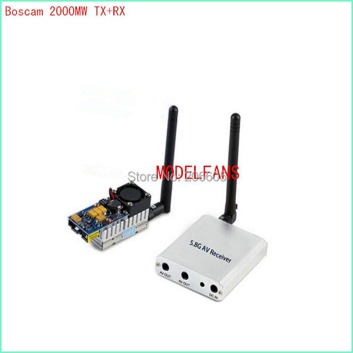 Boscam 5.8Ghz 5.8G 2W 8Ch 2000mw Wireless Audio Video Transmitter Receiver RC FPV DJI Phantom gopro hero3(Hong Kong)