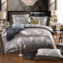 Luxury Silk Bedding Set Embroidery Bed Linens Satin Bed Sheet Set Jacquard Bedclothes Queen/King Size Bed cover 4pcs(China (Mainland))