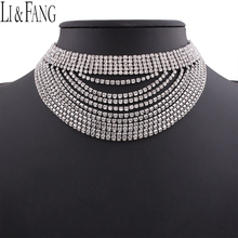 Buy Li & Fang Brand 2017 Rhinestone Choker Necklace Alloy Crystal Multi Layer Fashion Jewelry Maxi Tassel Pendant Necklaces Women for $7.72 in AliExpress store