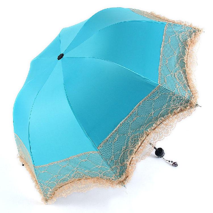 Lady's Vinyl UV Protection Sun Sunshade Beach Triple Folding Lace Umbrella(China (Mainland))