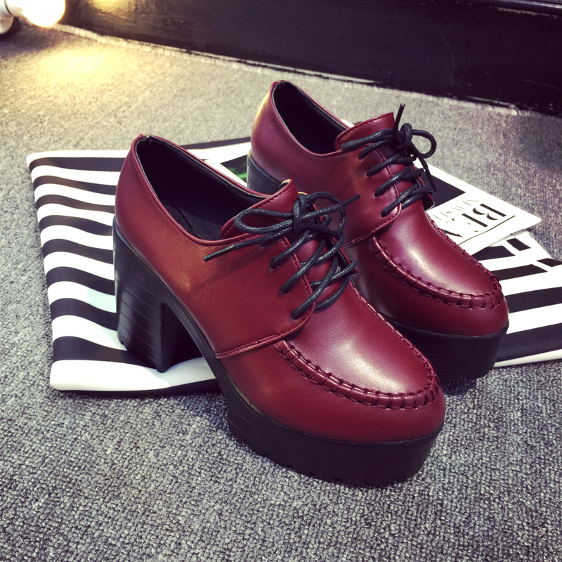 New Arrival 2016 Autumn Women Ankle Punk Boots Platform Womens Lace Up Pumps Short Boots High Heel Black Wine Red Short Boots(China (Mainland))