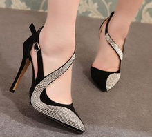 New 2015 fashion sexy women pumps spring summer vintage rhinestone ultra high heels shoes women pointed toe sandals woman