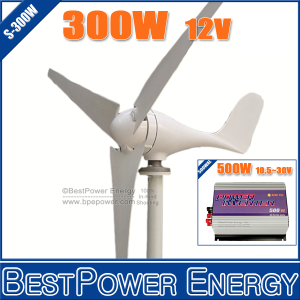 Hot Sale!! Grid Tie Wind Power System, Wind Turbine Kits(500W Grid Tie Wind Inverter + 300W Wind Generator Turbine)(China (Mainland))
