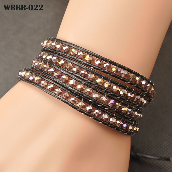 Free shipping, Fashion Handmade Leather Bracelet 4 Rows Bracelet 6mm Crystal Beads Leather Wrap Bracelets WRBR-022(China (Mainland))