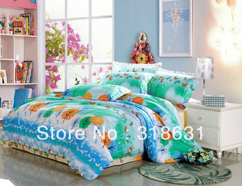 Free Shipping Spring Bedding Articles Green Trees Butterflies Cotton Home Textile Duvet Quilt Cover Bedding FULL/QUEEN Shams Set