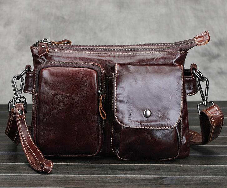 Male vintage shoulder bag for men business bags genuine leather messenger bags Small coffee leather small handbags fashion(China (Mainland))