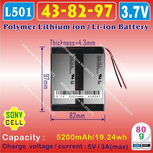 [L501] 3.7V,5200mAH,[438297] Polymer lithium ion / Li-ion battery for tablet pc,power bank,speaker,mp4,dvr,onda,cube,PIPO