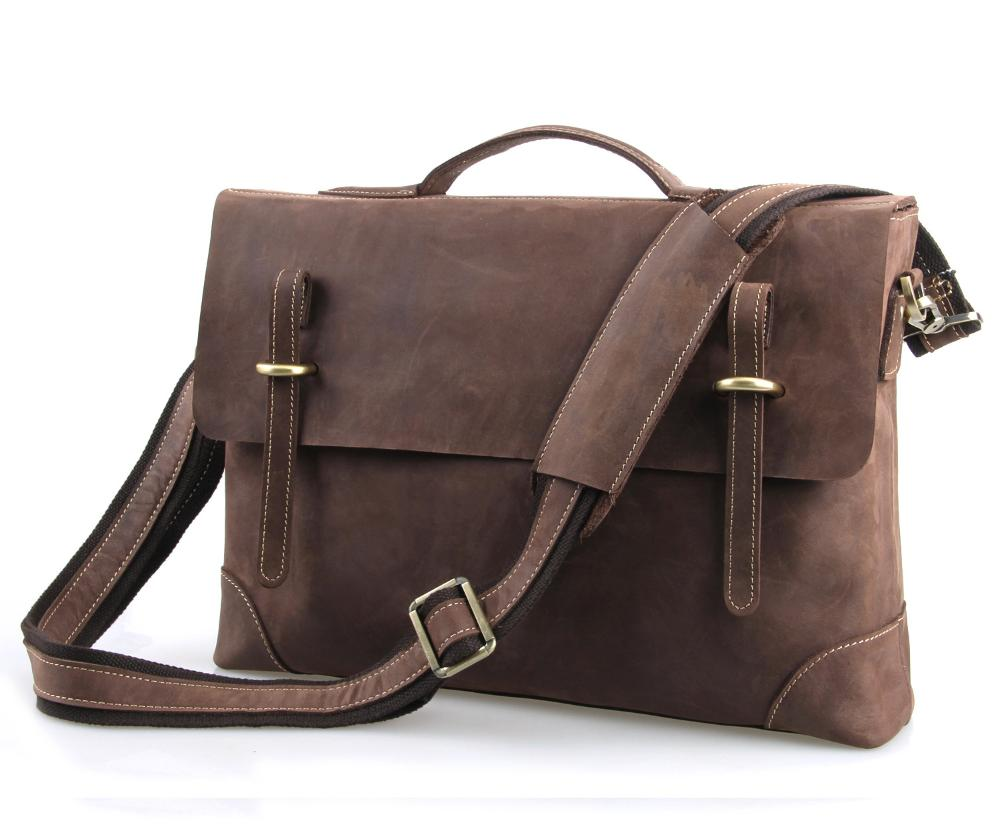 2015 new casual men briefcase business Shoulder bags Men messenger bags Computer Laptop Handbag Bag Men crazy horse Leather 7228