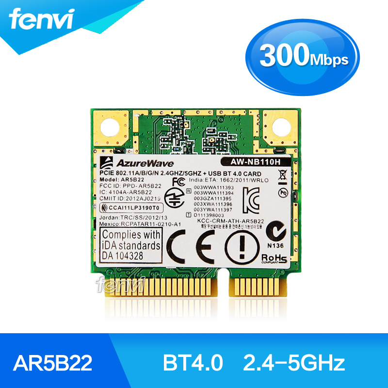 Atheros AR5B22 Dual band Wireless Half Mini PCI-E card 300mbps Laptop wireless WiFi Bluetooth BT 4.0 COMBO MINI PCI-e Network(China (Mainland))