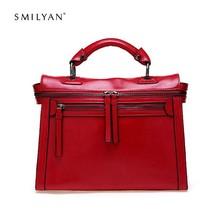 Smilyan Brand New Women Messenger Bags Fashion Shoulder Bag Vintage Crossbody Bag Genuine Leather Bags Women