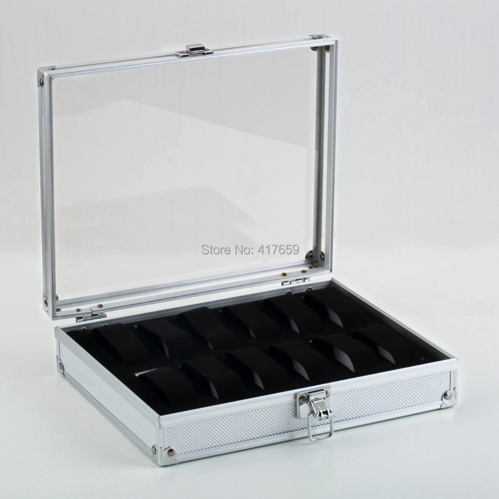 1pc 12 Grid Slots Jewelry Watches Display Storage Square Box Case Aluminium Drop Shipping Wholesale(China (Mainland))