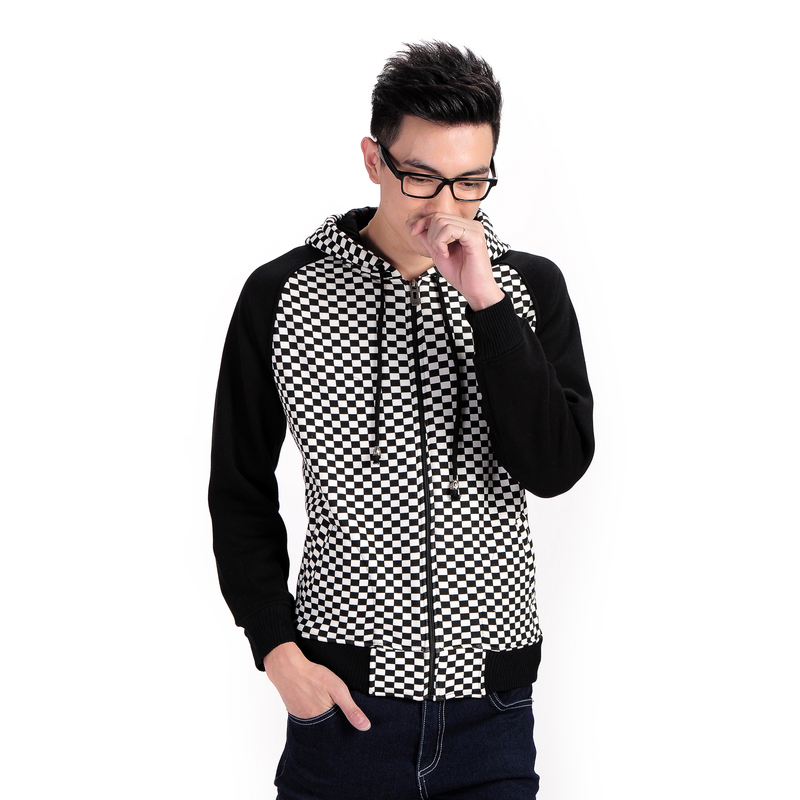 2015 New Metrosexual Self-Cultivation Hooded Sweatershirt Cardigan Fashion Lattice Letters Adolescent Students Jacket H2512(China (Mainland))