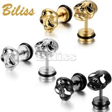 2015 Charming Personality Men's Stainless Steel Stud Earrings Silver/Black/Gold Skull Earrings For Men Gothic Style(China (Mainland))