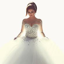 Sagte Mhamad 2015 Langarm Brautkleider vestidos de noiva Ballkleid Brautkleider Luxus Hochzeit kleider für Braut(China (Mainland))