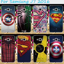 Cool Cartoon Pattern Cover For Samsung Galaxy J7 2016 Colorful SupermanSpider ManCaptain AmericaRadiation Signal Case