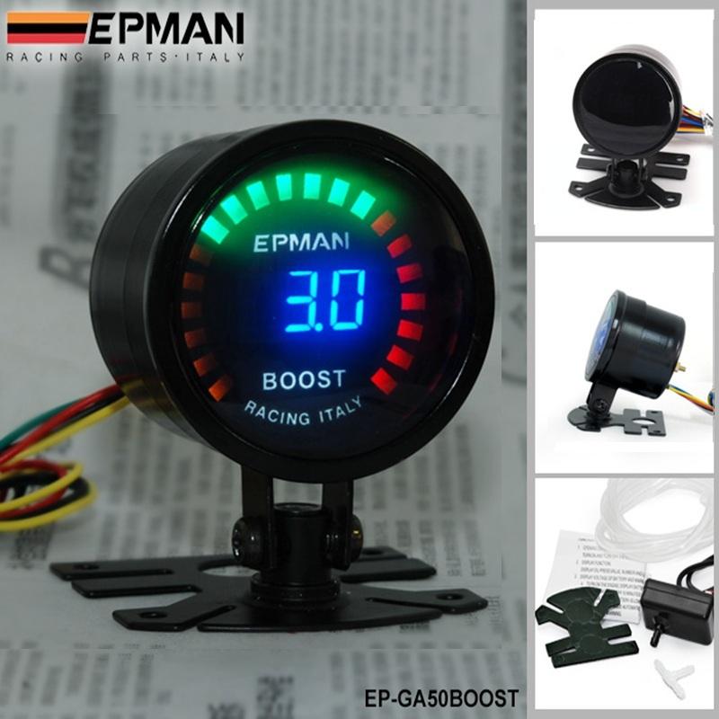 "Гаджет  EPMAN -NEW Racing 2"" 52mm Digital Color Analog LED PSI/BAR Turbo Boost Gauge Meter With Sensor Monitor Racing Gauge EP-GA50BOOST None Автомобили и Мотоциклы"