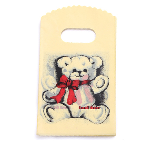 Bear Print Yellow small plastic jewelry gift packaging bags with handle 9x15cm 100pcs(China (Mainland))