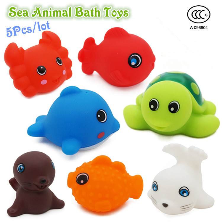5pcs/lot Bath Toys in the Barthroom Kids Water Toys for Children Soft Rubber Toys for Boys Girls Rubber Duck Sea Animal juguetes(China (Mainland))